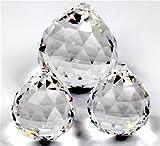 Rieser® premium-kristall© Set: Boule cristal à facettes 2x 30mm + 1x 40mm - lead crystal 30% PbO - Feng Shui...