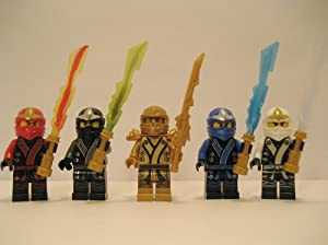 New 2013 Lego Ninjago Kimono Ninja's - Set of 5 - (Loose) From Original Packaging - Cole, Jay, Kai, Golden Lloyd, & Zane w/ All 4 Elemental Blades