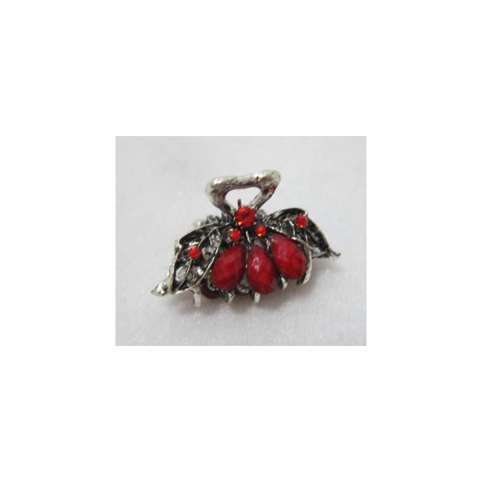 Small One Inch Silver Metal Clip Claw   Red