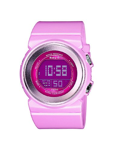 Casio Baby-G - Reloj digital de mujer de cuarzo con correa de resina rosa (alarma, cronómetro, luz) - sumergible a 100 metros