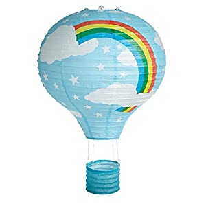 "16"" Blue Rainbow Hot Air Balloon Paper Lantern Ceiling Light Shade by Lights Linen"