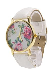 Jonsen Talk Geneva Leather Rose Flower Watch (White)
