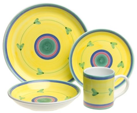 Caleca Carousel 16-Piece Dinnerware Set, Service for 4