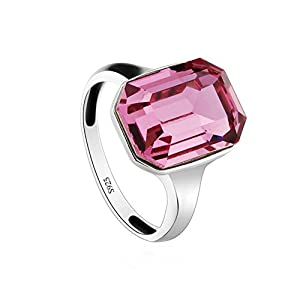 Bellera Jewelry Square Rose 925 Sterling Silver Cubic Zirconia Crystal Ring 6