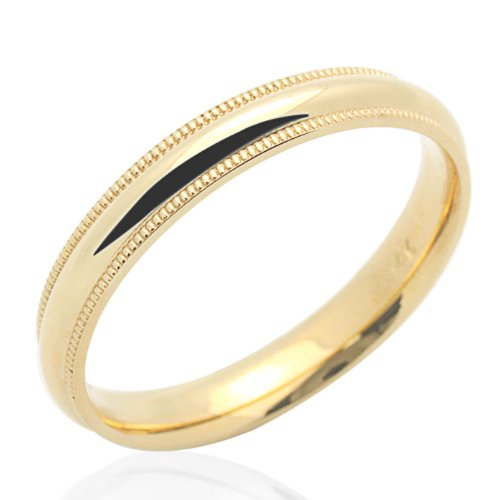 Little Treasures 14 ct Yellow Gold Wedding Band 3MM Milgrain Comfort Fit Band