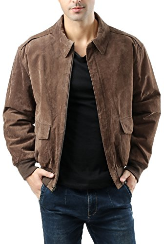 Landing Leathers Men`s Air Force A-2 Suede Leather Flight Bomber Jacket - M