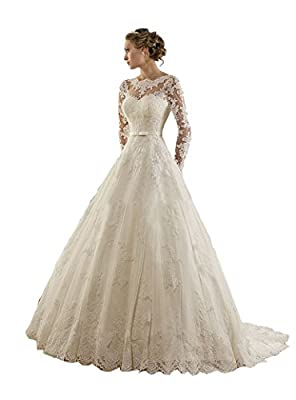 TDHQ Women's Jewel Lace Applique Long Sleeves Sash Chapel Train A Line Wedding Dress