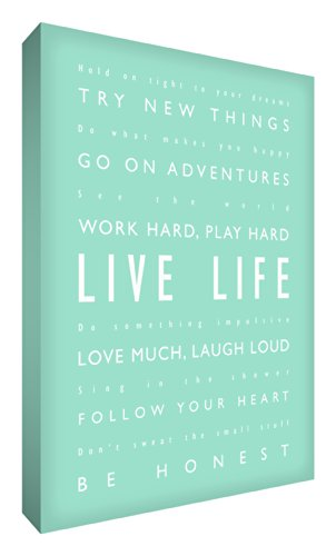 "Feel Good Art, Stampa su tela, scritta in calligrafie diverse, motivo: scritta in inglese ""Live life / Vivi la vita"", 30,48 x 20,32 cm, Verde (Mintgrün)"