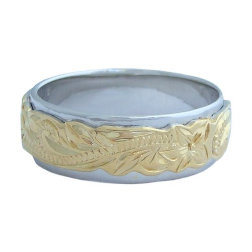 Hawaiian Heirloom Jewelry Double Band Sterling Silver Ring 14k Yellow Gold Finish Size 9