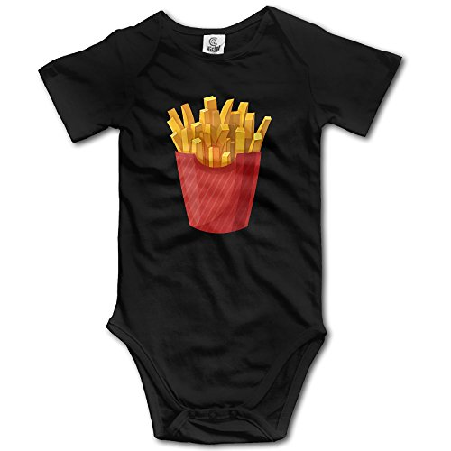 Duola Infants Boy's & Girl's French Fries Short Sleeve Bodysuit Outfits For 6-24 Months Black 18 Months (Toddler French Fries Costume compare prices)