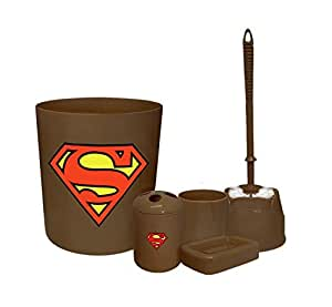 New 5 Piece Bathroom Accessories Set In Brown Featuring Superman Theme Home Kitchen