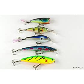 Lot of 5 New Crankbait Fishing Lures for Largemouth Bass AA
