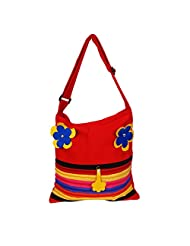 Womaniya Canvas Red Handbag For Women(Size-32 Cm X 32 Cm X 10 Cm) - B00SJ1IXTC