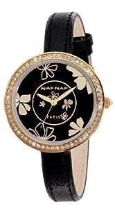 Naf Naf - N10082-103 - Vanille - Montre Femme - Quartz Analogique - Cadran Noir - Bracelet Cuir Noir