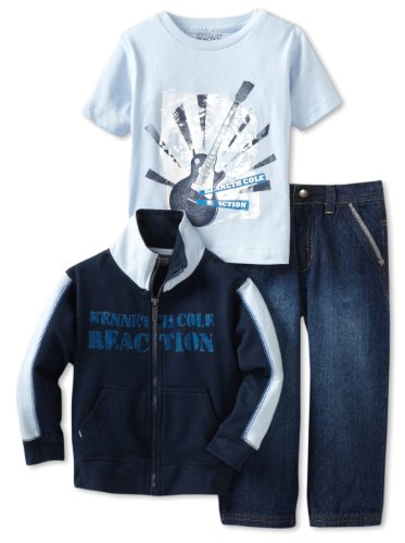 Kenneth Cole Boys 2-7 Jacket 3 Piece Pant Set, Navy, 3T