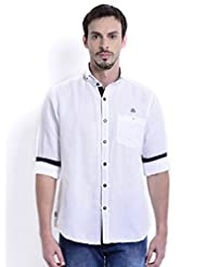 Sting White Solid Slim Fit Full Sleeve Cotton Casual Shirt For Men - B00V83F41S