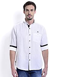 Sting White Solid Slim Fit Full Sleeve Cotton Casual Shirt For Men