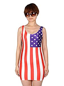 Simplicity Women Star Stripe USA Flag American Stretch Tank Dress