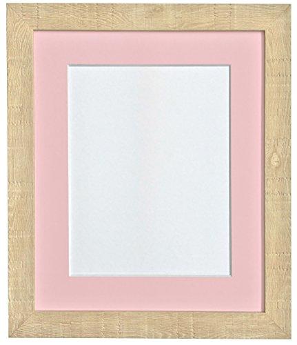 14 x 11 cm tief Körnung Bilderrahmen mit Passepartout für A4 Pink Bilderrahmen Hellbraun