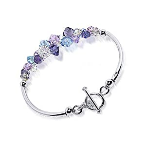 scbr021 multicolor swarowski crystal sterling silver bracelet with toggle clasp