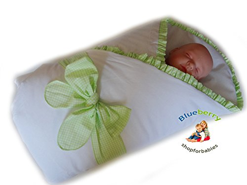 Blueberry Shop Luxury Warm Newborn Swaddle Wrap Blanket Duvet Sleeping Bag Satin Cotton Green Check