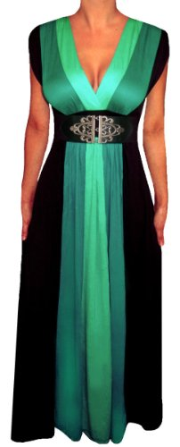 Funfash Slimming Green Black Color Block Maxi Dress Women Plus Size 1X Xl 16 Made In Usa