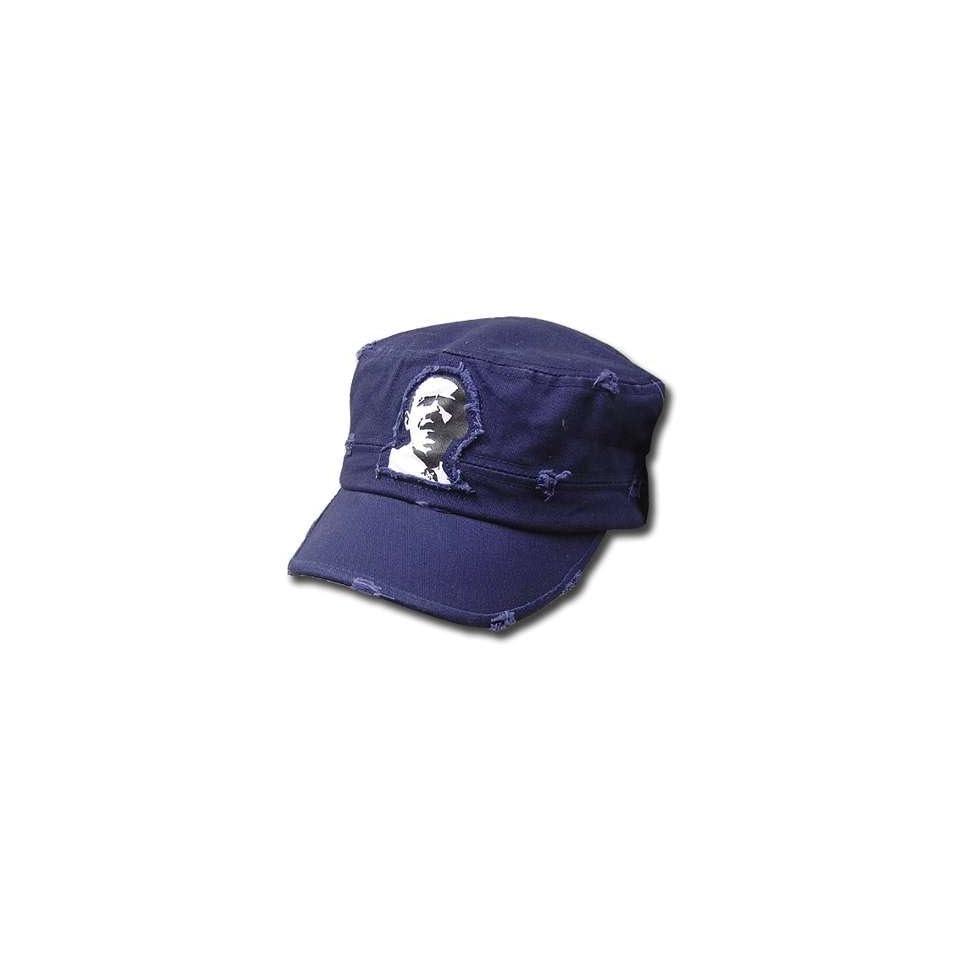 new product f610e 23b55 OBAMA FLEX FIT CADET FATIGUE CASTRO HAT CAP NAVY BLUE