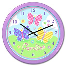 Butterfly Garden Personalized Lilac Clock By Olive Kids