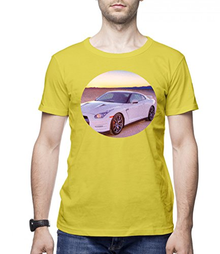 Ford Mustang Sports Car Men's CLASSIC Crew neck T-Shirt Giallo X-Large