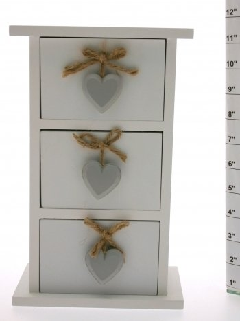 Richard Lang Grey Heart Design Jewellery Box with Drawers