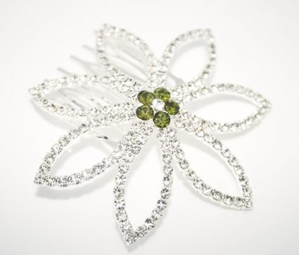 LJ Designs Crystal Flower Hair Comb