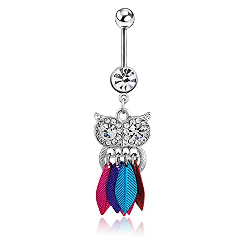 WILLTOO 1PC Cute Crystal Owl Dangle Belly Button Bar Navel Ring Body Piercing Jewelry (Multicolor) (Cheap Dangle Belly Button Rings compare prices)