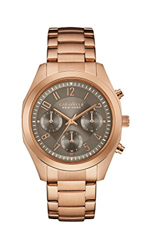 Caravelle New York Melissa Women's Quartz Watch with Grey Dial Chronograph Display and Rose Gold Bracelet 44L198