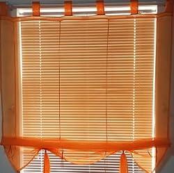 New 7 Colors Ribbon Roman Curtain Blind Home Wave European Tab Top Living Room Balcony Voile 1PC Orange W60CMXH140CM