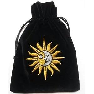 Luxueux sac pour cartes de Tarot/Oracle en velours noir avec cordon broderie Soleil- Lune 41AYxYmCsRL._SL500_AA300_