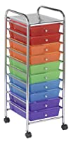 ECR4Kids 10-Drawer Mobile Organizer Assorted Colors
