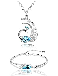Valentine Gifts : Shining Diva White Gold Plated Crystal Jewellery Pendant Necklace Set With Bracelet For Girls...
