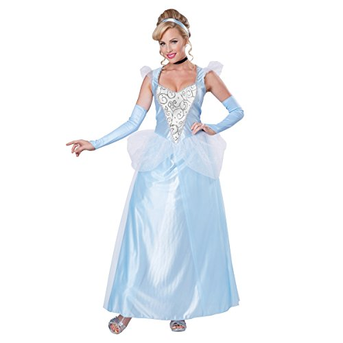 Classic Cinderella Womens Plus Size Costume Disney Princess Blue Gown Adult