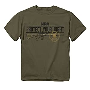 """Buck Wear NRA """"PROTECT YOUR RIGHT"""" Screen Printed Short Sleeve T-Shirt, Olive, Large"""