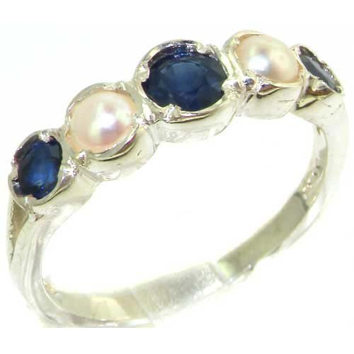Genuine Solid Sterling Silver Natural Sapphire & Pearl Womens Ring - Size 11.25 - Finger Sizes 4 to 12 Available - Suitable as an Anniversary ring, Engagement ring, Ring, or Promise ring