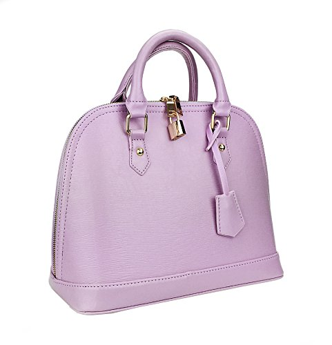 Hoxis Summer Colorful Wood Grain Embossed Faux Leather Shoulder Shell Bag( purple lavender)
