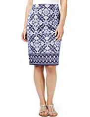 Cotton Rich Tile Print Knee Length Pencil Skirt