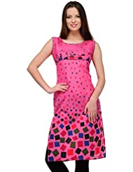 AngelFab Pink Color Cotton Fabric Women's Straight Kurti - B01LEUUXD8