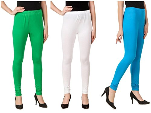 Svadhaa White Green Aqua Cotton Lycra Leggings(Pack Of 3)