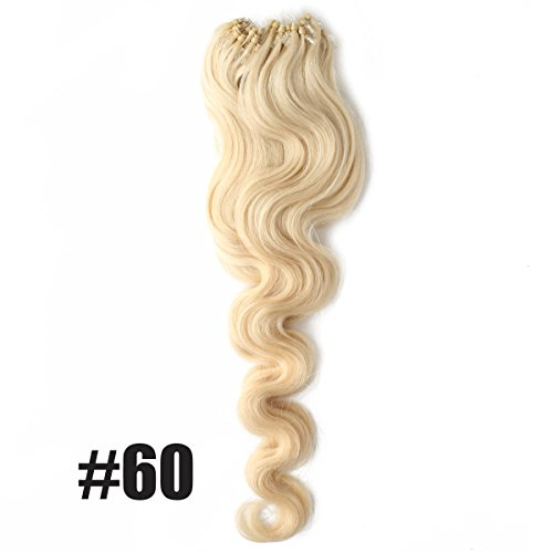 """Yewig 20"""" Loop Micro Ring Beads Tipped Remy Body Wave Wavy Curly 100% Real Human Hair Extensions 100s 1g/s #60 Light Blonde"""