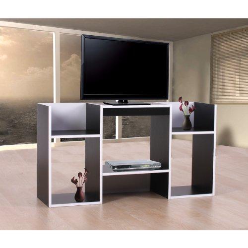 Meubles tv meuble tv tag re 6 niches 109x30x59cm noir for Meuble tv 6 niches