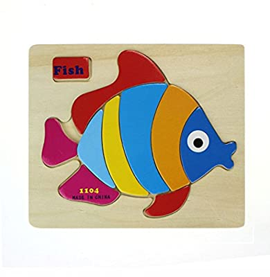 Bocideal(TM) New Arrivial Cartoon Animal Puzzle Wooden Blocks Toy Red Fish