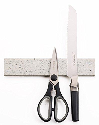 RSVP White Quartz Stone 10 Inch Magnetic Knife Bar