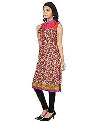 Shagun Creation Purple Orange Printed Kurti-42-For Women, Girls