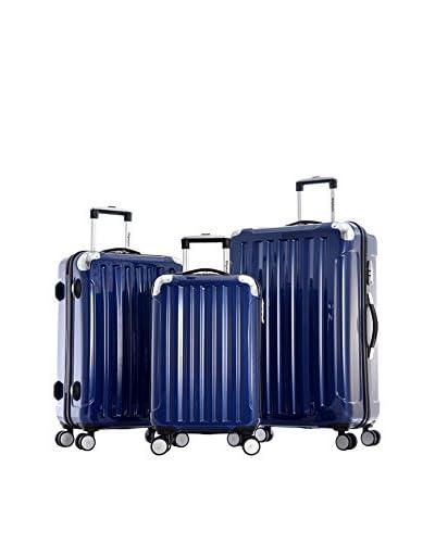 Olympia Stanton 3-Piece Polycarbonate Hardcase Spinner Set, Metallic Blue